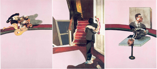 Francis Bacon. <em>Triptych - In Memory of George Dyer</em>, 1971. Oil on canvas 1980 x 1475 mm each. Fondation Beyeler, Basel © Estate of Francis Bacon. All Rights Reserved, DACS 2008 . Photo: Peter Schibli, Basel