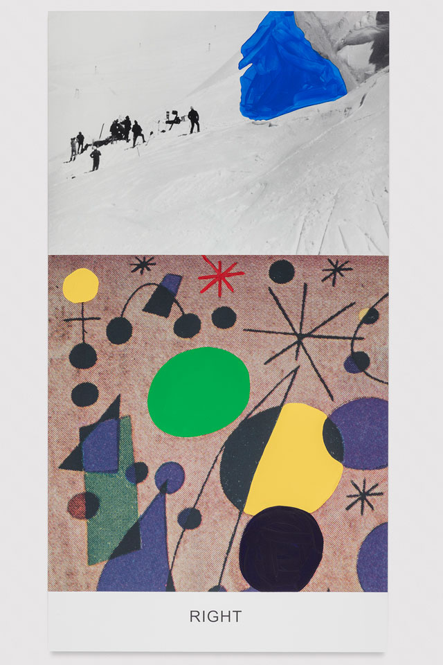John Baldessari. Miró and Life in General: Right, 2016 Varnished inkjet print on canvas with acrylic paint, 95 5/8 x 50 7/8 x 1 1/2 in. No. 19355. © John Baldessari, courtesy of the artist and Marian Goodman Gallery. Photograph: Joshua White.