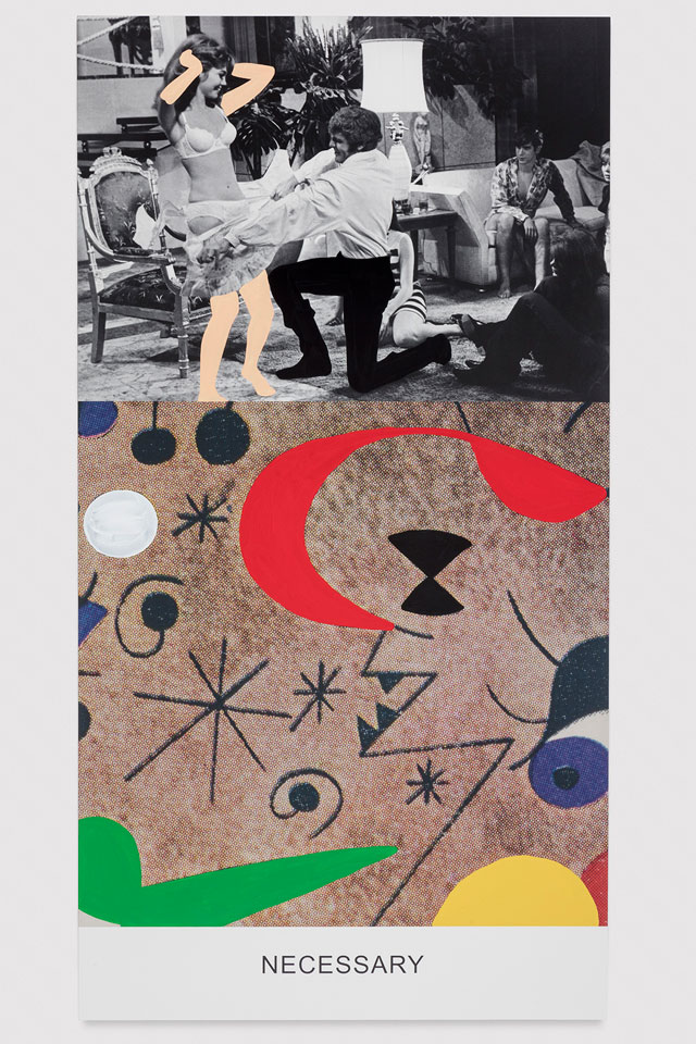 John Baldessari. Miró and Life in General: Necessary, 2016 Varnished inkjet print on canvas with acrylic paint, 95 5/8 x 50 5/8 x 1 1/2 in. No. 19356. © John Baldessari, courtesy of the artist and Marian Goodman Gallery. Photograph: Joshua White.