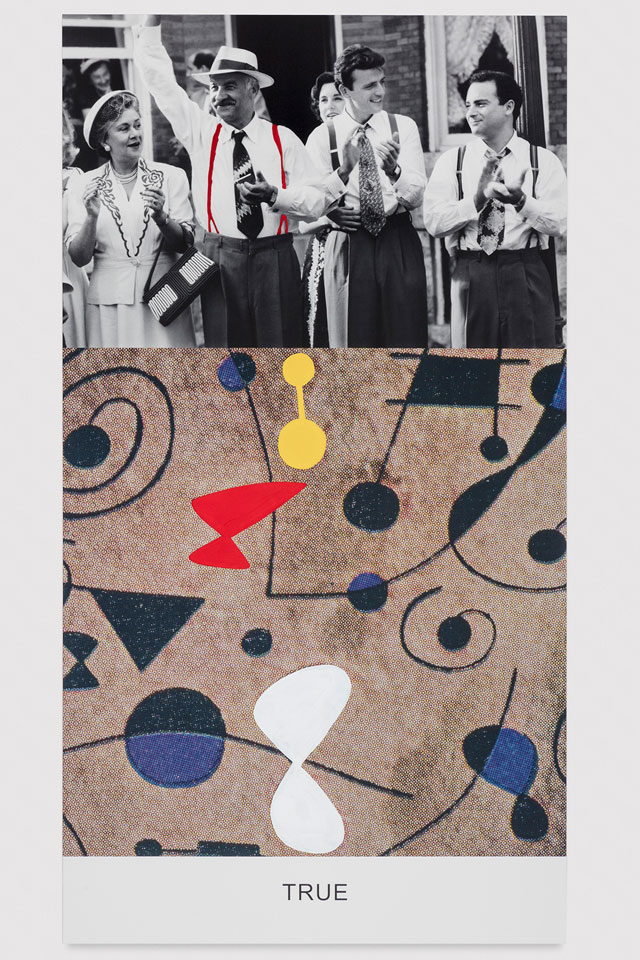 John Baldessari. Miró and Life in General: True, 2016 Varnished inkjet print on canvas with acrylic paint, 95 5/8 x 51 7/8 x 1 1/2 in. No. 19357. © John Baldessari, courtesy of the artist and Marian Goodman Gallery. Photograph: Joshua White.
