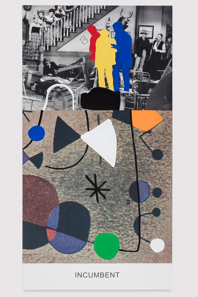 John Baldessari. Miró and Life in General: Incumbent, 2016 Varnished inkjet print on canvas with acrylic paint, 95 7/8 x 50 1/2 x 1 1/2 in. No. 19361. © John Baldessari, courtesy of the artist and Marian Goodman Gallery. Photograph: Joshua White.