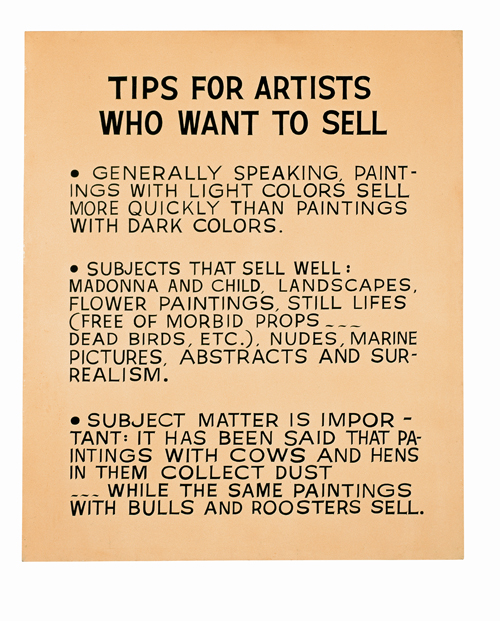 John Baldessari. <em>Tips for Artists Who Want to Sell,</em> 1966