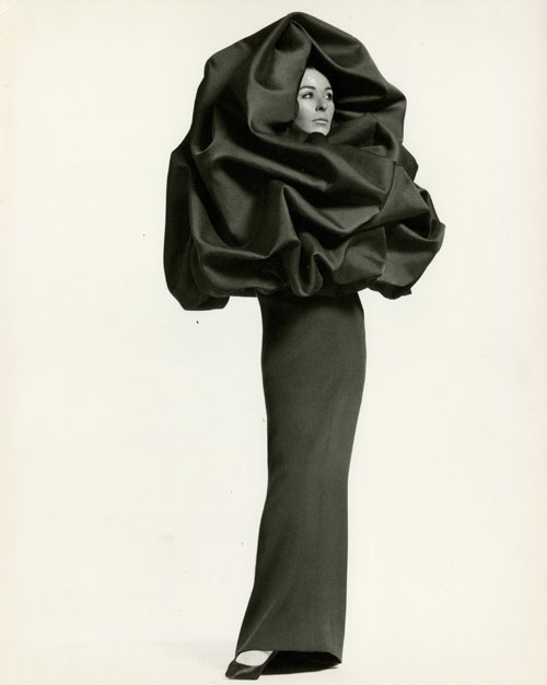 Cristobal Balenciaga. House photograph of evening ensemble; dress of black silk crepe and
