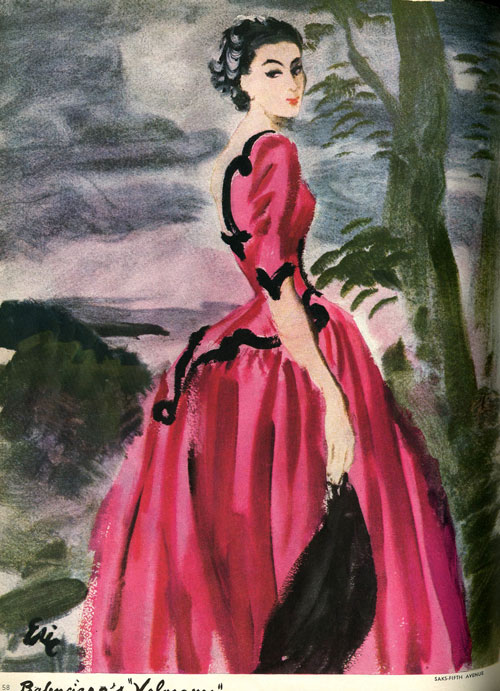 "Sketch of Balenciaga ""Infanta"" evening dress; from Vogue Magazine (September 15, 1939). Carl Erickson/Conde Nast Archive; Conde Nast."