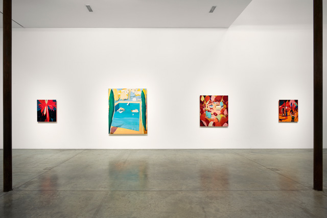 Jules de Balincourt. Installation view, Stumbling Pioneers, Victoria Miro, London. Courtesy the artist and Victoria Miro, London. © Jules de Balincourt.