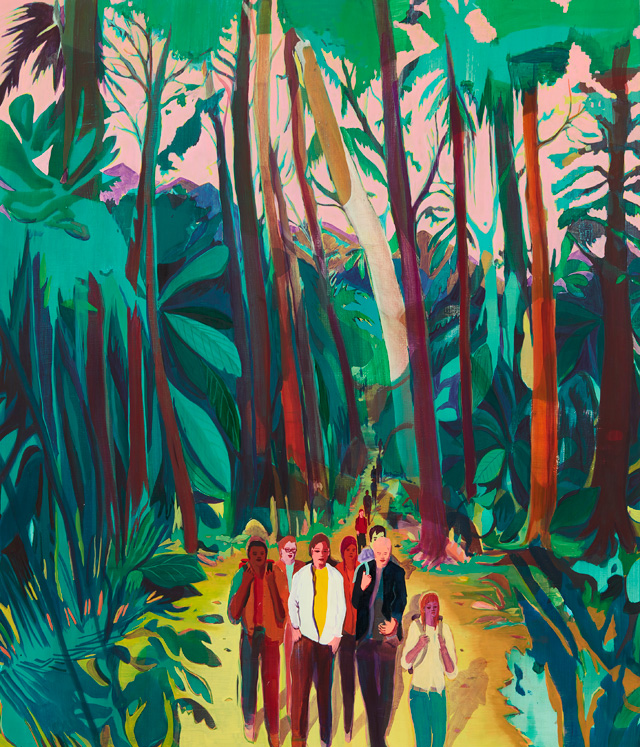 Jules de Balincourt. Canyon Kids, 2016. Oil on panel, 177.8 x 152.4 cm (70 x 60 in). Courtesy of the artist and Victoria Miro, London. © Jules de Balincourt.