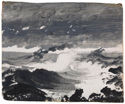 Peder Balke. The Tempest, c1862. Oil on wood panel, 12 x 16.5 cm. © The National Gallery, London.