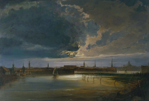 Peder Balke. Moonlit View of Stockholm, c1850. Oil on canvas, 67.3 x 100.3 cm. Collection of Asbjørn Lunde, New York. © Photograph courtesy of the owner.