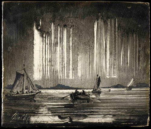 Peder Balke. Northern Lights, 1870s. Oil on board, 10 × 12 cm. The Hearn Family Trust. © Photograph courtesy of the owner.