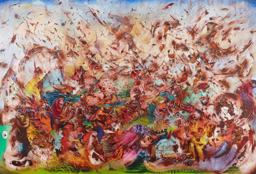 Ali Banisadr. Contact, 2013. Oil on linen, 82 x 120 in.