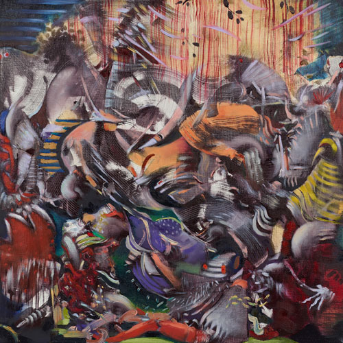 Ali Banisadr. Insufferable Naturalist, 2014. Oil on linen, 16 x 16 in.