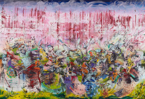 Ali Banisadr. Motherboard, 2013. Oil on linen, 82 x 120 in.
