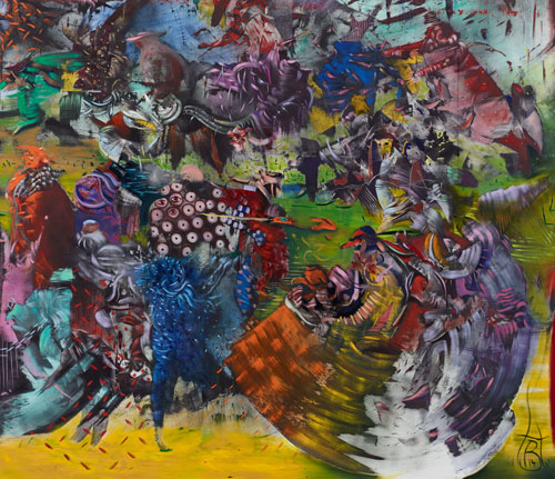 Ali Banisadr. Ran, 2014 (detail 1). Oil on linen, 96 x 180 in.