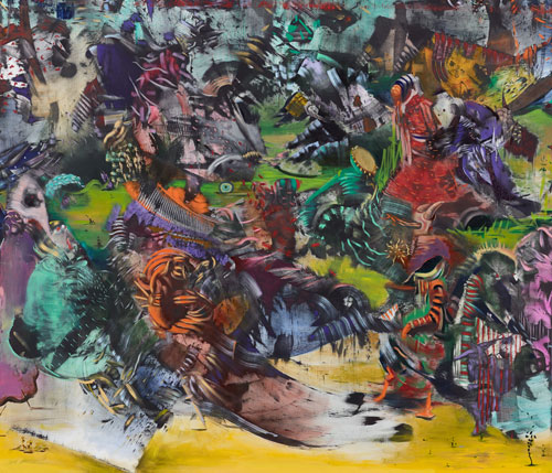 Ali Banisadr. Ran, 2014 (detail 2). Oil on linen, 96 x 180 in.