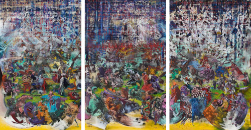 Ali Banisadr. Ran, 2014. Oil on linen, 96 x 180 in.