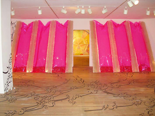 Irene Barberis. <em>Intersections –reading the space</em>. Lean – expanded expansion and fold/drape. 2005-2006. Lean – expanded expansion: Fibreglass, fluorescent pink pvc, artists breath, breath soundscape (DR. Irene Barberis and Dr. Phillip Samartzis 2005). 300 x 900 cms fold/drape: tissue paper, embroidered text, shellac, collage tape. © the artist. Photo artist. Contemporary Jewish Museum of San Francisco 2005-2006, Jewish Museum of Australia, Melbourne, Australia, 2005.