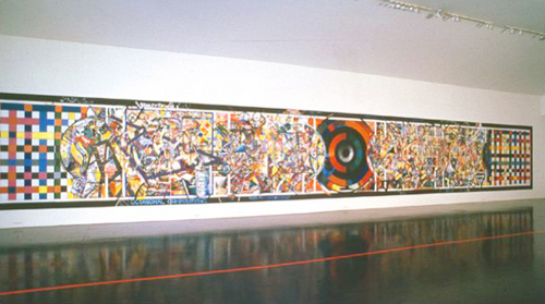 Irene Barberis. <em>Spiritual and Mundane/Aspects of Scripture in the Modern World</em>, 1992. Mundane Painting. Acrylic paint, tape, on wooden panels. 240 x 1680 cms © the artist. Photo artist, Luba Bilu Gallery, Melbourne, Australia.