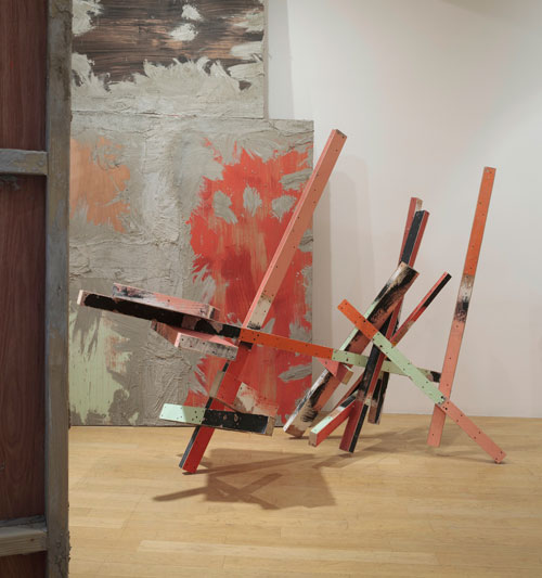 Phyllida Barlow. Untitled: caro, 2015. Timber, plywood, filler, paint, 360 x 480 x 270 cm. Installation view. Courtesy the artist and Hauser & Wirth. Photograph: Ruth Clark.