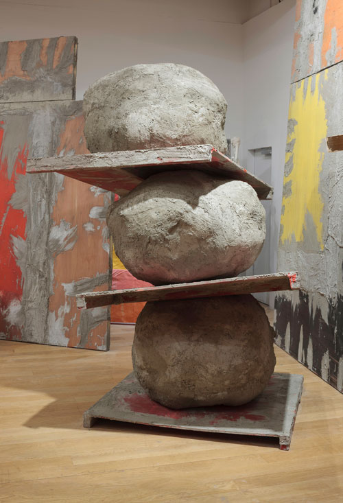 Phyllida Barlow. Untitled: stack, 2015. Plywood, timber, wire mesh, scrim, cement, sand, polyurethane foam, PVA, paint, 360 x 360 x 290 cm. Courtesy the artist and Hauser & Wirth. Photograph: Ruth Clark.
