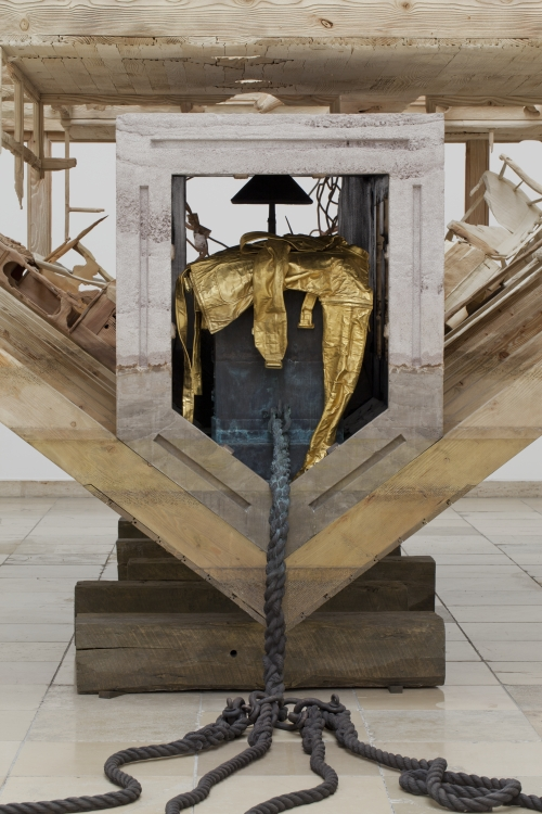 Matthew Barney. Boat of Ra (detail), 2014. Wood, cast bronze, resin-bonded sand, steel, and gold plating, 132 × 600 × 288 in. Installation view, courtesy Laurenz Foundation, Schaulager, Basel. Photograph: Maximilian Geuter.