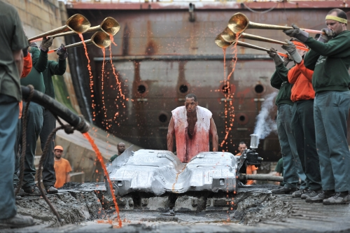 Matthew Barney and Jonathan Bepler. River of Fundament, 2014. Production still, courtesy of Gladstone Gallery, New York and Brussels, © Matthew Barney. Photograph: Hugo Glendinning.