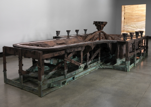 Matthew Barney. Rouge Battery, 2014. Cast copper and iron, 28 x 90 x 179 in. Courtesy of the artist and Gladstone Gallery, New York and Brussels, installation view of Matthew Barney: RIVER OF FUNDAMENT at Museum of Old and New Art (MONA), 2014-15. Photograph: Rémi Chauvin/MONA.