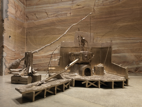 Matthew Barney. Shaduf, 2014. Cast brass, 144 x 120 x 180 in. Courtesy of the artist and Gladstone Gallery, New York and Brussels, installation view of Matthew Barney: RIVER OF FUNDAMENT at Museum of Old and New Art (MONA), 2014-15. Photograph: Rémi Chauvin/MONA.