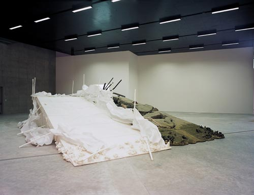 Matthew Barney. <em>Holographic Entry Point</em>, 2005. Self-lubricating plastic, polycaprolactone thermoplastic, shrimp shells, sea shells, cement, wood, steel, stainless steel, expanded polystyrene, vivac, pigment, acrylic paint, acrylic medium, sand, aquaplast, PVC. Installation view from and courtesy of Leeum, Samsung Museum of Art, Seoul. Photograph: Hyunsoo Kim. &copy; Matthew Barney