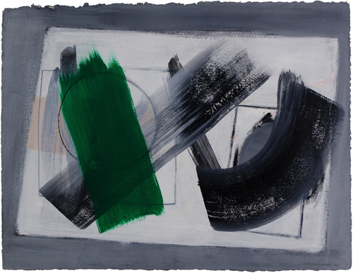 Wilhelmina Barns-Graham. Decision, 2001. Acrylic on paper, 57.5 x 76.4 cm. Courtesy of Art First, copyright Barns-Graham Charitable Trust.