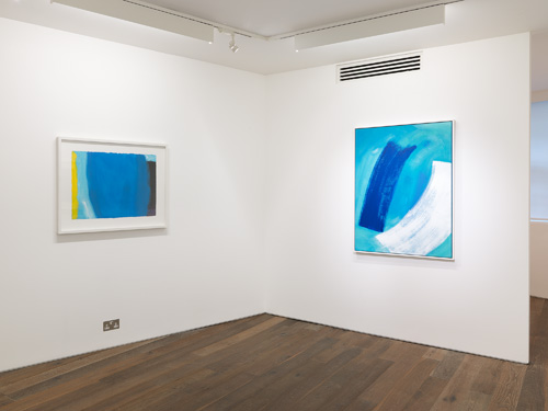 Wilhelmina Barns-Graham. Art First installation view 2, showing works Ocean, 2001 & Easter Series, Two Brushstrokes, 2000. Courtesy of Art First.