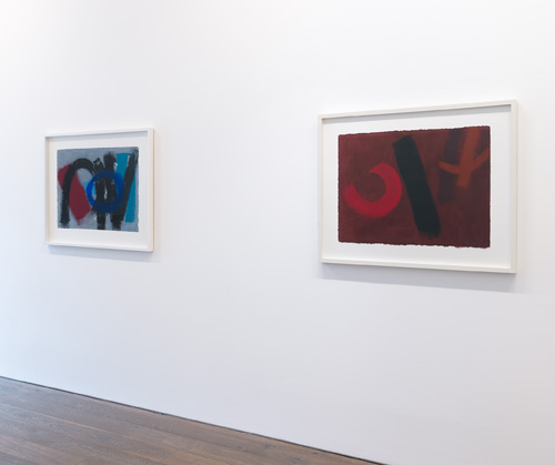 Wilhelmina Barns-Graham. Art First installation view 4, showing Scorpio Series 2, No. 14 & April V, 2001. Courtesy of Art First.