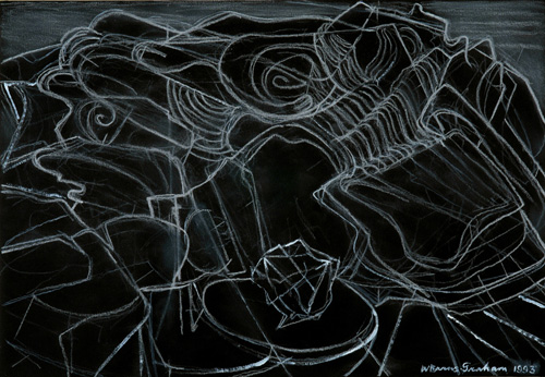 Wilhelmina Barns-Graham. Lava Forms Lanzarote No. 2, 1993. Chalk on black paper, 29.5 x 40.5 cm. Courtesy of Art First, copyright Barns-Graham Charitable Trust.