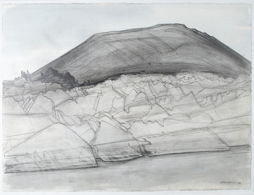 Wilhelmina Barns-Graham. Ruta de los Volcanes, Lanzarote, 1989. Pencil and wash on paper, 57 x 75.5 cm. Courtesy of Art First, copyright Barns-Graham Charitable Trust.