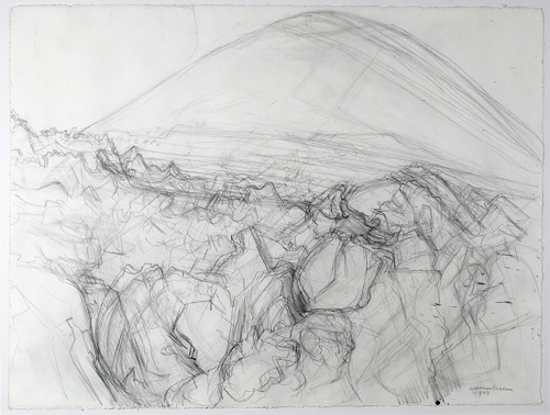 Wilhelmina Barns-Graham. Volcanic Island (nr Montana del Fuego), 1989. Pencil on paper, 56 x 75.5 cm. Courtesy of Art First, copyright Barns-Graham Charitable Trust.
