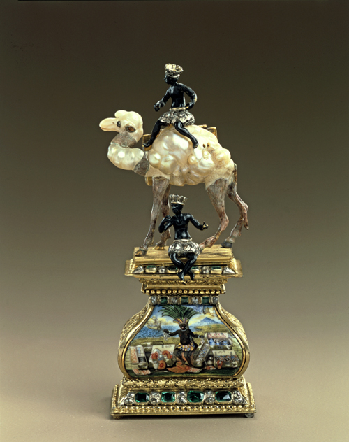 Figure of a camel made from Baroque pearls, probably Frankfurt am Main, before 1706. © Grünes Gewölbe, Staatliche Kunstsammlungen Dresden. Photo: Jürgen Karpinski.