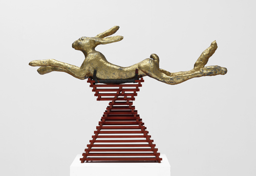 Barry Flanagan. <em>Leaping hare, embellished, 2/3 jan