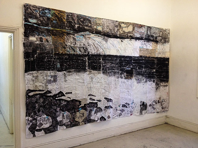 Regine Bartsch. All Walls Have Doors and Windows 1, 2013. Paper, thread, ink, charcoal, graphite, plastic and acrylic, 380 x 220 cm. Photograph: Alan Landers.