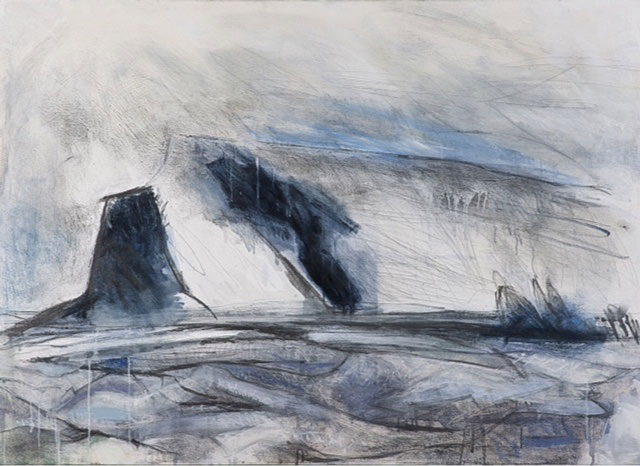 Regine Bartsch. Sailing Past Valentia Island 1, 2013. Gesso, acrylic, pastel and charcoal on canvas, 140 x 100 cm. Photograph: Con Kelleher.