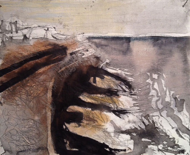 Regine Bartsch. Aldeburgh Beach, 2013. Ink, graphite, charcoal and pastel on linen, 39 x 30 cm. Photograph: Alan Landers.