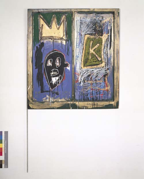 Jean-Michel Basquiat (1960-1988), Untitled 1981. Acrylic, oil, oil paintstick and gold leaf on found window 38 x 34 1/4 x 2 3/16 in. (121.9 x 121.9 cm). Collection of Leo Malca