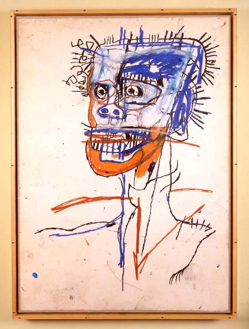 Jean-Michel Basquiat, Untitled (Head of a Madman) 1982. Mixed media on paper mounted on linen 43 x 31 in. (109.2 x 78.7 cm). Collection of Leo Malca