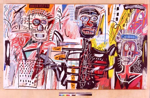 Jean-Michel Basquiat, Philistines 1982. Acrylic and oil paintstick on canvas 72 x 123 in. (182.9 x 312.4 cm). Collection of Mr. and Mrs.  Thomas E. Worrell Jr.