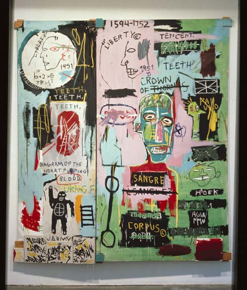 Jean-Michel Basquiat (1960-1988), In Italian 1983. Acrylic, oil paintstick, and marker on wood supports. Diptych: 88 1/2 x 80in. (224.8 x 203.2). The Stephanie and Peter Brant Foundation