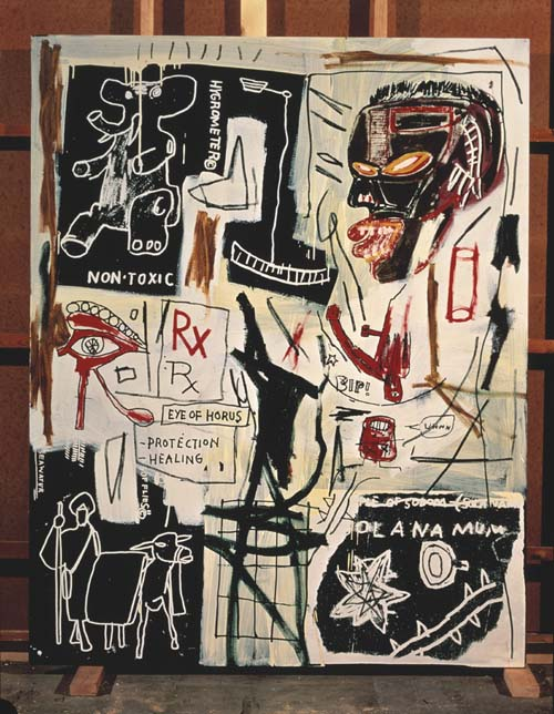 Jean-Michel Basquiat (1960-1988), Melting Point of Ice 1984. Acrylic, oil paintstick, and silkscreen on canvas 86 x 68 in. (218 x 172.7). The Broad Art Foundation