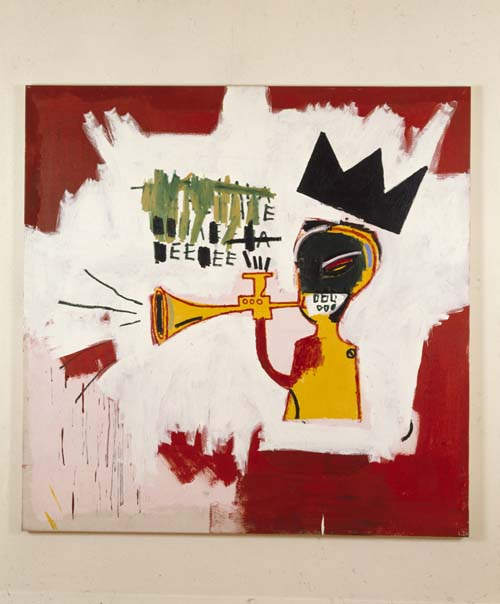 Jean-Michel Basquiat (1960-1988), Trumpet 1984. Acrylic and oil paintstick on canvas 60 x 60 in. (152.4 x 152.4 cm). On loan from private collection. Courtesy of the Norton Museum of Art