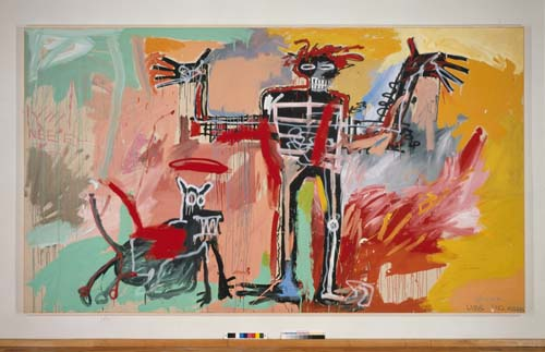Jean-Michel Basquiat (1960-1988), Boy and Dog in a Johnnypump 1982. Acrylic and oil paintstick, and spray paint on canvas 94 1/2 x 165 1/2 in. (240 x 420.4 cm). Courtesy The Stephanie and Peter Brant Foundation, Greenwich, CT