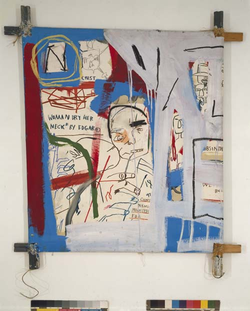 Jean-Michel Basquiat, 3 Quarters of Olympia Minus the Servant 1982. Acrylic, oil paintstick, graphite, and paper collage on canvas mounted on tied wood supports 48 x 44 in. (121.9 x 111.8 cm). The Estate of Jean-Michel Basquiat