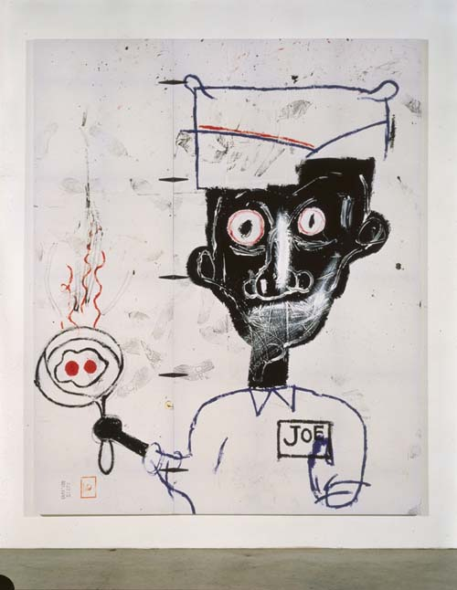 Jean-Michel Basquiat (1960-1988), Eyes and Eggs 1983. Acrylic, oil paintstick, and paper collage on cotton drop cloth 119 x 97 in. (302.3 x 246.4 cm). The Eli and Edythe L. Broad Collection, Los Angeles