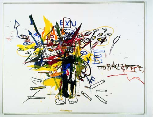 Jean-Michel Basquiat, Exu 1988. Acrylic and oil paintstick on canvas 79 x 100 in. (200.7 x 254 cm). Collection Aurélia Navarra