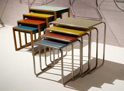 Josef Albers. Set of stacking tables, c1927. Photograph: Jane Hobson 2012. Courtesy of Barbican Art Gallery.
